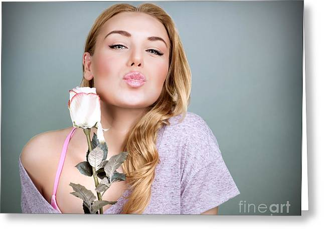 Sweet Female With Rose  Greeting Card by Anna Om