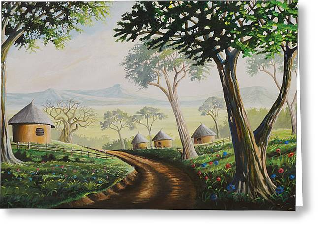 Greeting Card featuring the painting Sweet Home by Anthony Mwangi