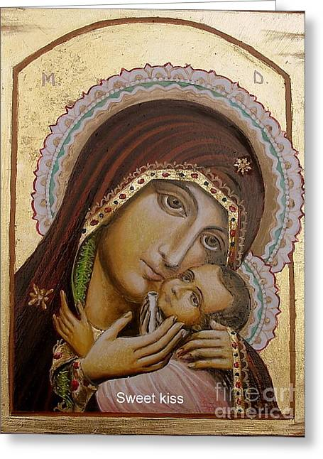 Greeting Card featuring the painting Sweet Kiss  Icon by Sorin Apostolescu