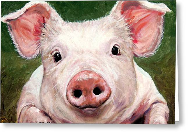 Sweet Little Piglet On Green Greeting Card