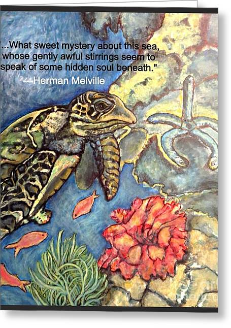 Sweet Mystery Of This Sea A Hawksbill Sea Turtle Coasting In The Coral Reefs 2 Greeting Card by Kimberlee Baxter
