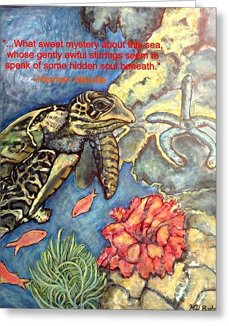 Sweet Mystery Of This Sea A Hawksbill Sea Turtle Coasting In The Coral Reefs Greeting Card by Kimberlee Baxter