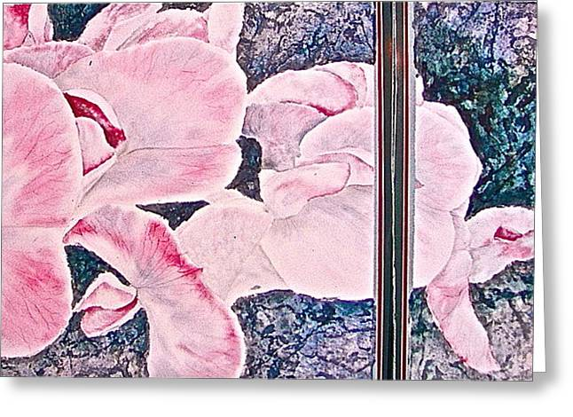 Greeting Card featuring the painting Sweet Peas by Carolyn Rosenberger