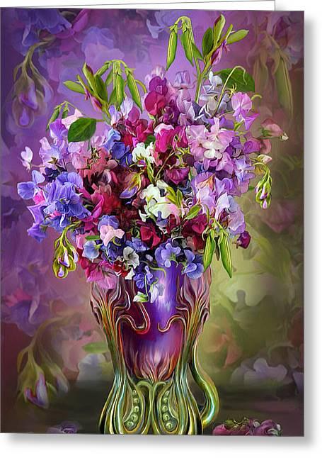Sweet Peas In Sweet Pea Vase Greeting Card