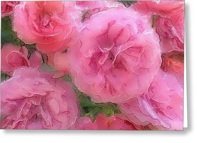 Greeting Card featuring the mixed media Sweet Pink Roses  by Gabriella Weninger - David