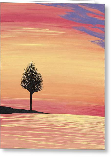 Sweet Raspberry Sunset Greeting Card by Melissa F Kaelin