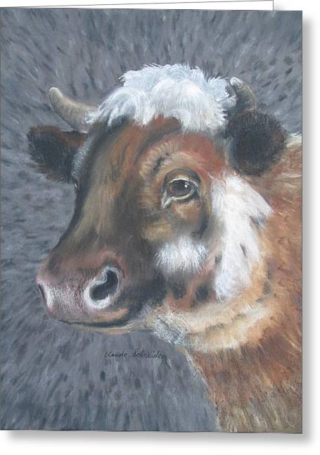 Sweet Shirley The Cow Greeting Card by Claude Schneider