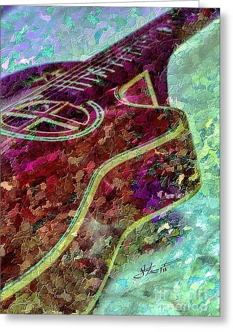 Sweet Sounds 3 Digital Guitar Art By Steven Langston Greeting Card by Steven Lebron Langston