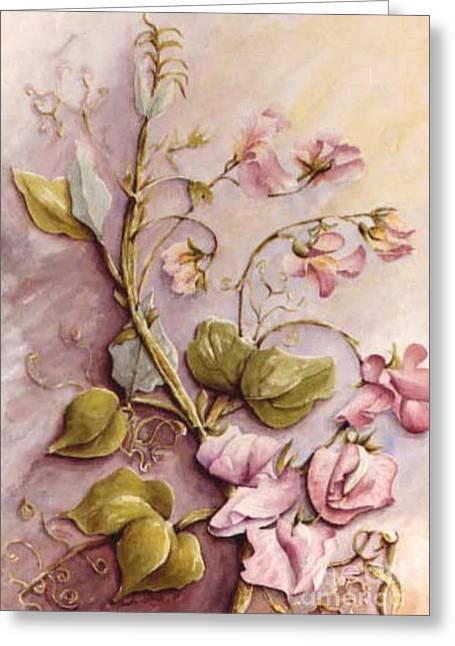 Sweet Sweet Pea Greeting Card by Marta Styk