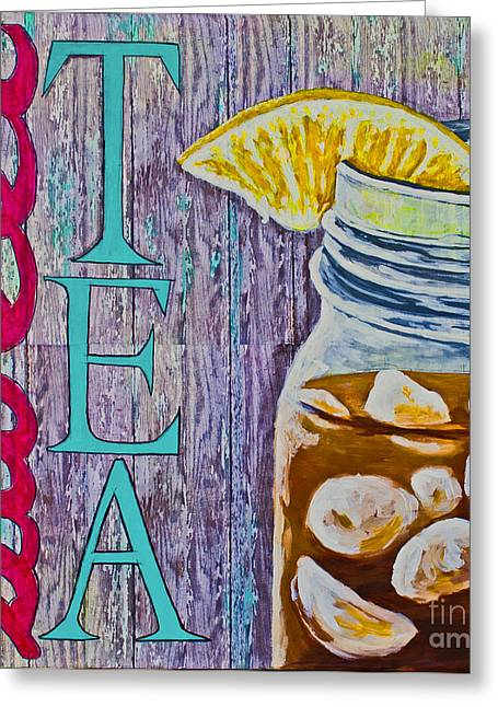 Greeting Card featuring the mixed media Sweet Tea by Melissa Sherbon