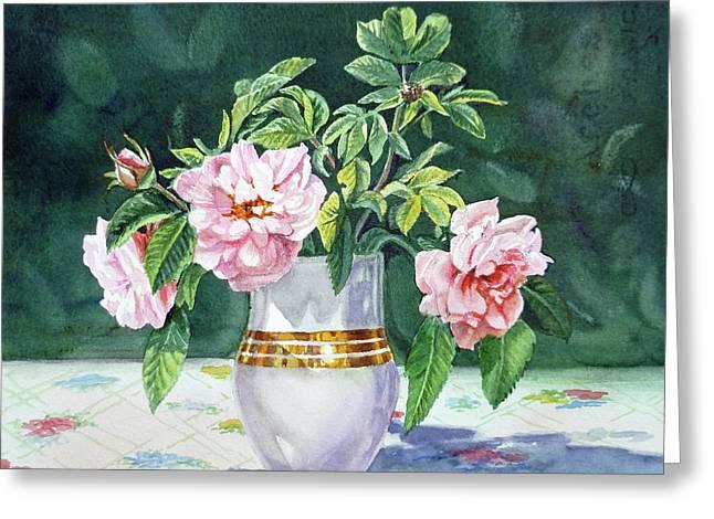 Greeting Card featuring the painting Sweet Tea Roses Bouquet by Irina Sztukowski