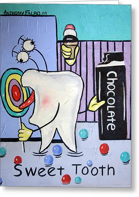 Greeting Card featuring the painting Sweet Tooth by Anthony Falbo