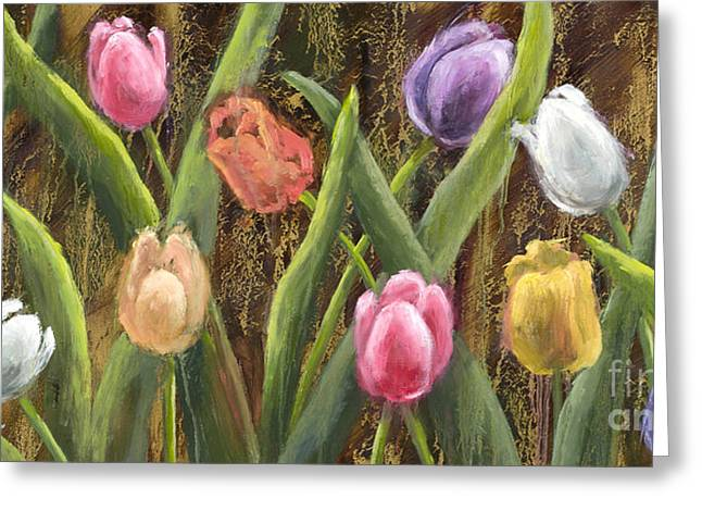 Sweet Tulips With Gold Leaf By Vic Mastis Greeting Card by Vic  Mastis
