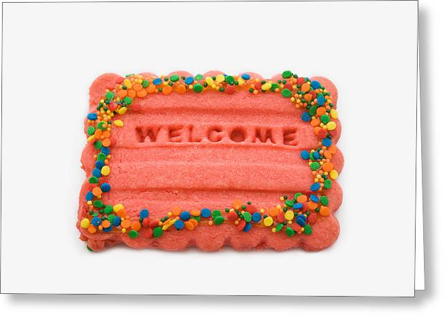 Sweet Welcome Mat Greeting Card by Diane Macdonald