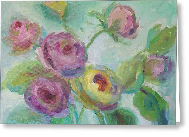 Greeting Card featuring the painting Sweetness Floral Painting by Mary Wolf