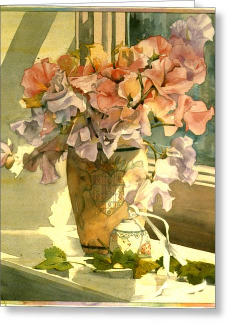 Sweetpea On The Windowsill Greeting Card by Julia Rowntree