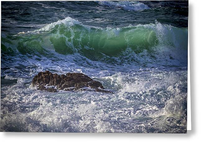Swells In Doninos Beach Galicia Spain Greeting Card
