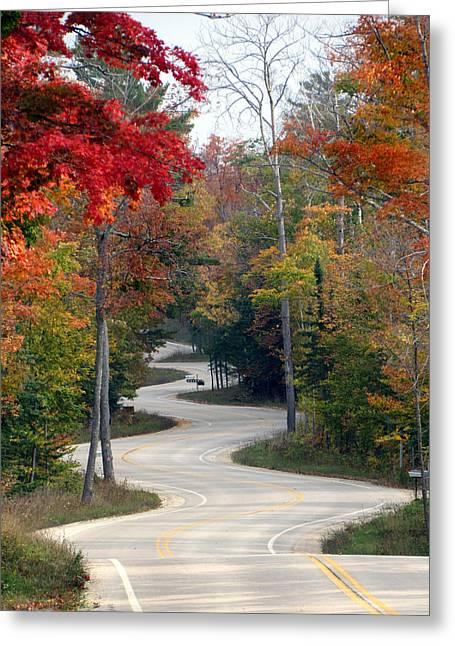 Swervy Road At North Port Greeting Card