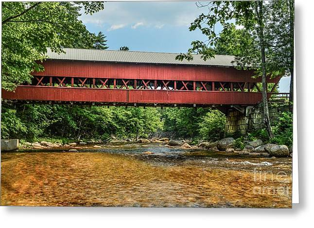 Greeting Card featuring the photograph Swift River Covered Bridge Hew Hampshire by Debbie Green