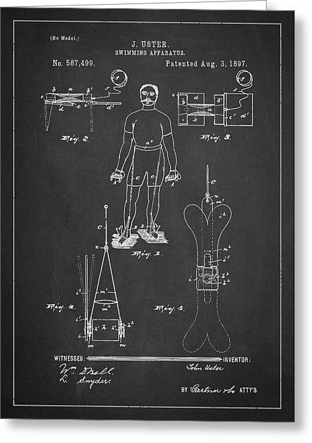 Swimming Apparatus Patent Drawing From 1897 Greeting Card by Aged Pixel