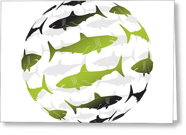 Swimming Green Sharks Around The Globe Greeting Card by Amy Kirkpatrick