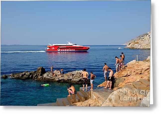 Swimming In Hydra Island Greeting Card by George Atsametakis