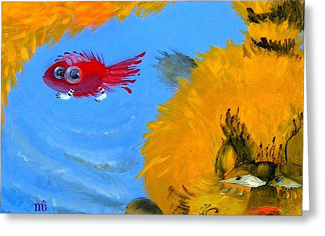 Greeting Card featuring the painting Swimming Of A Yellow Cat by Marina Gnetetsky