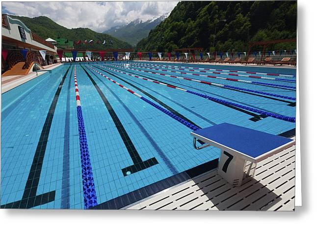 Swimming Pool At Grand Hotel Polyana Greeting Card