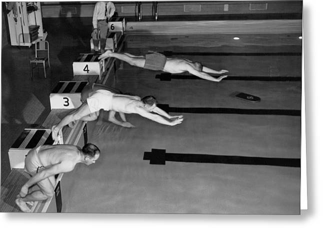 Swimming Race Start Greeting Card by Underwood Archives