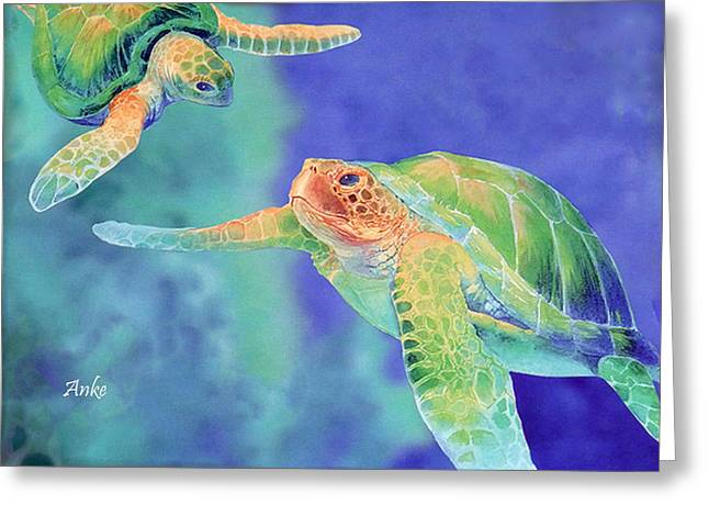 Swimming Seaturtles Greeting Card by Anke Wheeler