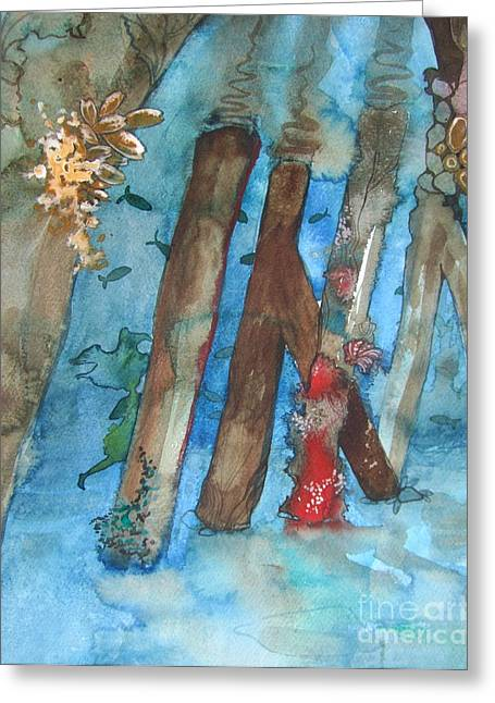 Swimming Under Pier Greeting Card