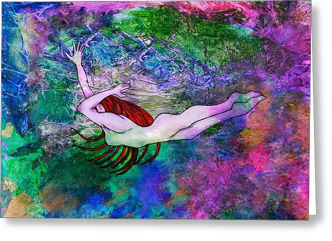 Underwater Swimmer Greeting Card by Janet Immordino