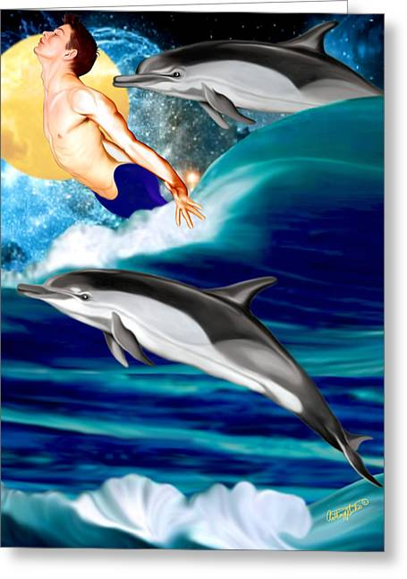 Swimming With Dolphins Greeting Card