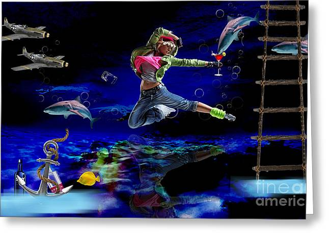 Swimming With The Sharks Greeting Card by Marvin Blaine