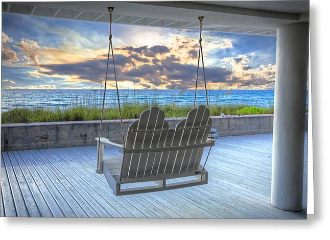 Swing At The Beach Greeting Card by Debra and Dave Vanderlaan
