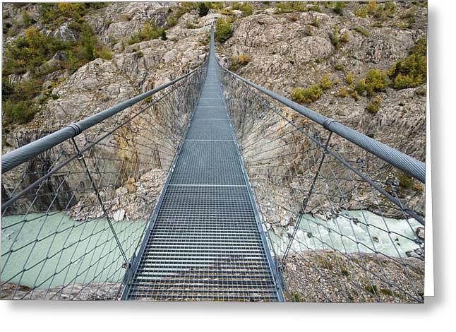 Swing Bridge Massaschlucht Swiss Alps Switzerland Greeting Card by Matthias Hauser