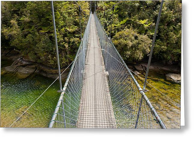 Swing Bridge Over Green Jungle River New Zealand Greeting Card