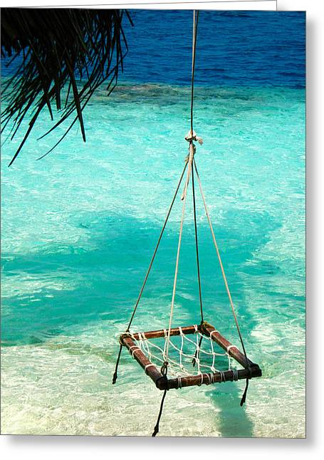 Swing In The Blue Lagoon Greeting Card by Jenny Rainbow
