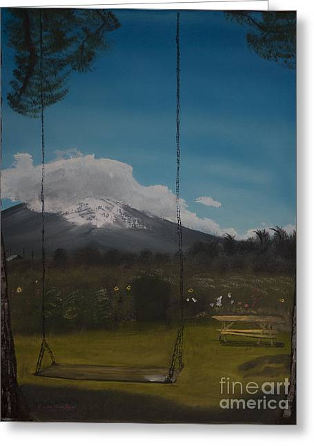 Greeting Card featuring the painting Swing On Mt Hoods Fruit Loop by Ian Donley