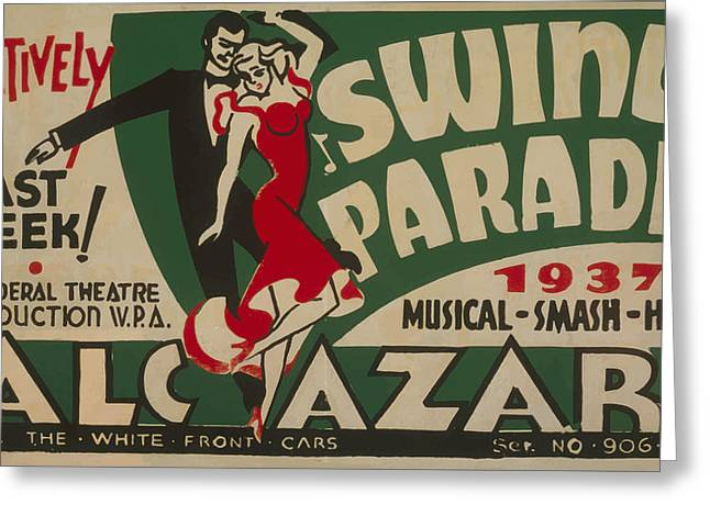 Swing Parade Of 1937 Greeting Card by American Classic Art