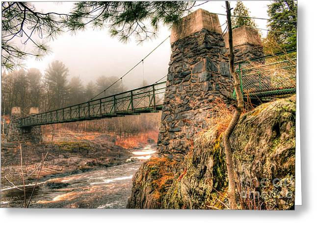 Greeting Card featuring the photograph Swinging Bridge Before The Storm by Mark David Zahn Photography