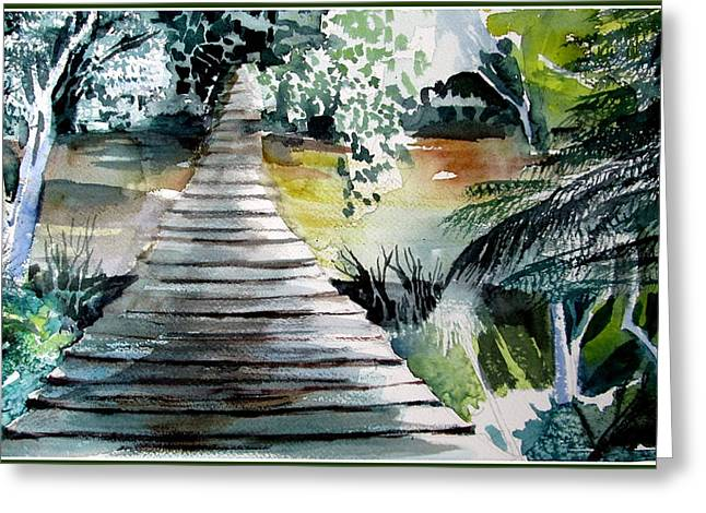 Swinging Bridge Greeting Card by Mindy Newman