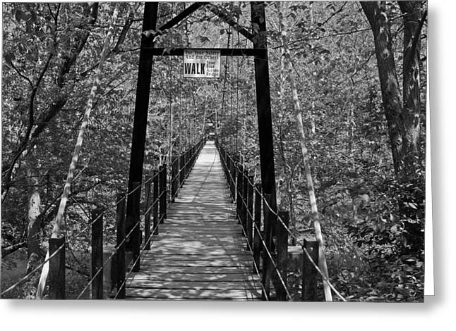 Swinging Bridge Patapsco State Park Bw Greeting Card