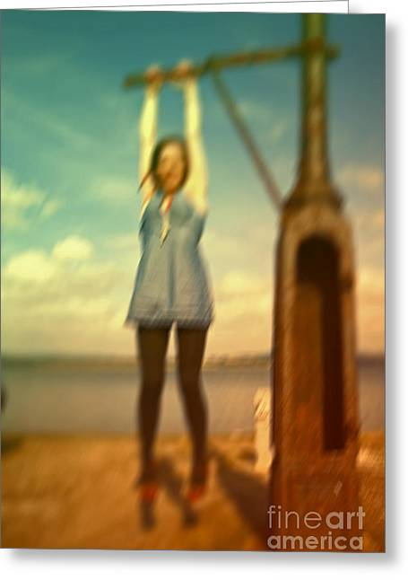 Greeting Card featuring the photograph Swinging From Lampost  by Craig B