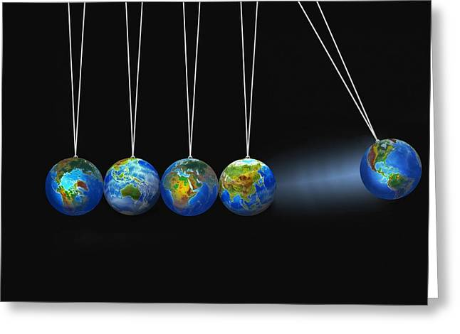 Swinging Globes Greeting Card by Don Hammond