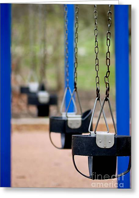 Swings In A Row Shallow Dof Greeting Card by Amy Cicconi
