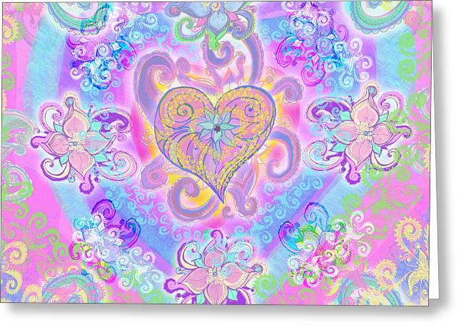 Swirley Heart Greeting Card by Alixandra Mullins