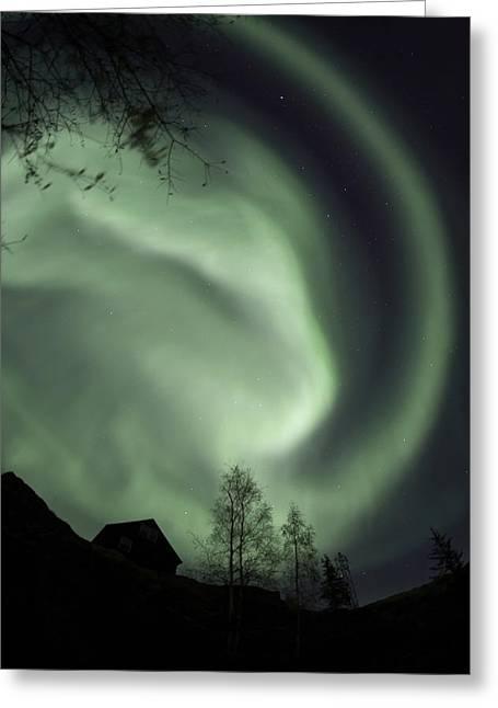 Swirling Aurora Borealis Fills The Greeting Card by Dave Brosha