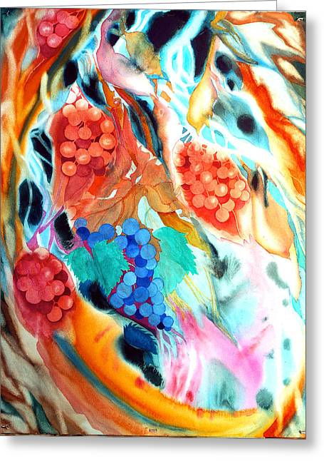 Swirling Grapes Greeting Card