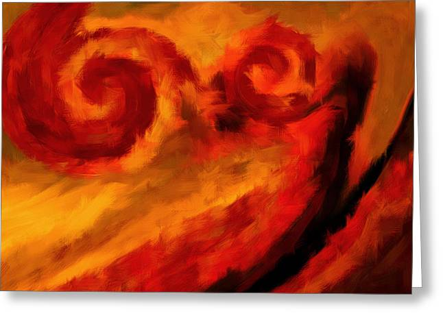 Swirling Hues Greeting Card by Lourry Legarde